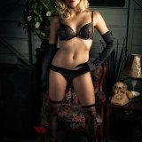 Sexy Blond Woman in Black Lingerie