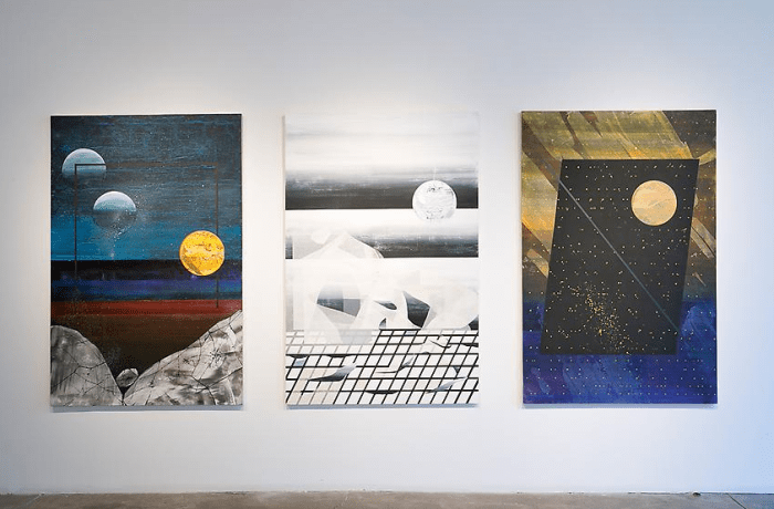 Planets in retrograde: Venus, Mercury, Mars, 2013 Triptych Acrylic, silver leaf and collage on panel, 72 x 48 inches. (photo credit:Clare Britt)