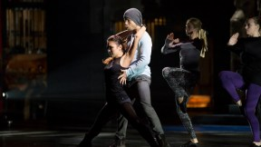 Derek Hough teaching the Rockettes to tango! Courtesy: The Rockettes Facebook