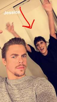 Derek backstage on Kelly & Michael - February 17, 2016 Courtesy derekhough snapchat