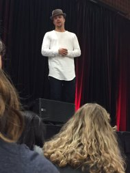 Derek leading a dance lesson at Ohio University - February 12, 2016 Courtesy LightningBOLTZ4 twitter