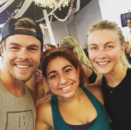 """Again.. I look horrible BUT OH MY GOD!!! I just got to workout with these two beautiful people and it was AMAZING!! Thank you @juleshough and @derekhough for an AMAZING sweat session and your inspiring words!! I would not be mad AT ALL if these two were my workout buddies for the rest of my life!! Sooo sweet and funny!!"" - August 23, 2016 Courtesy saringoncuian IG"