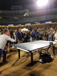 """@derekhough challenging one of the pros Soon Yeon Lee #PingPong4Purpose"" - August 11, 2016 Courtesy: KershsChallenge twitter"