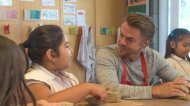 """""""Students who attend @InnerCityArts come from some of #LosAngeles' most underserved neighborhood! #GiveNBC @derekhough @BlairUnderwood @nbc"""" - November 12, 2016 Courtesy nbcgivetv twitter"""