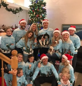 The Hough family posing for the family picture in Utah during Christmas Eve with their Ellen sweaters - December 24, 2016 Courtesy marriannhough IG