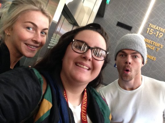 """When you get off of work and meet the king and queen of DWTS! Thank you @juliannehough and @derekhough !"" - January 6, 2017 Courtesy alysnicole14 twitter"