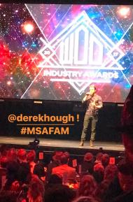"Derek on stage receiving his World of Dance Award for ""KAIROS"" - February 7, 2017"
