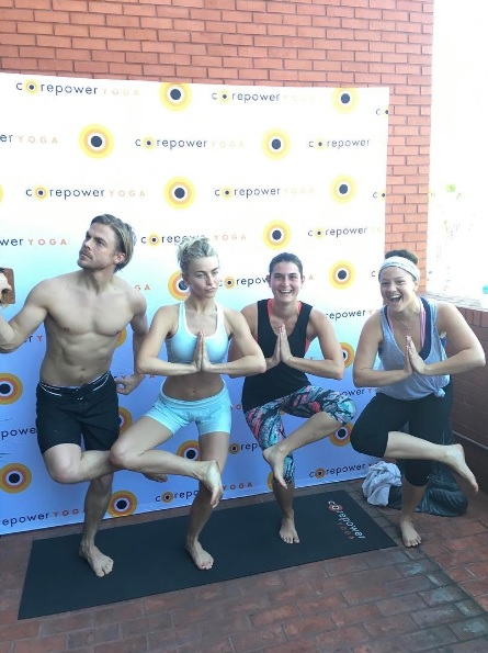 """Corepower yoga this morning with Julianne and Derek Hough 🙏 #hotyoga #gratitudebreedshappiness"" - March 11, 2017 Courtesy niso_soup IG"