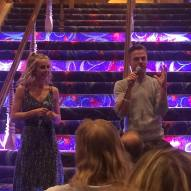 """@derekhough and @juleshough answering questions for the first show! #moveliveontour #movebeyond #movebeyondvip #pinkshirtgirl"" Courtesy cldancer ig"