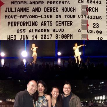 """Julianne & Derek Hough - Move Beyond Tour #juliannehough #derekhough #movebeyondliveontour #movebeyond #movebeyondtour #julianneandderekhough #dancingwiththestars #misdirectionsmagicshop"" Courtesy misdirectionsmagic ig"