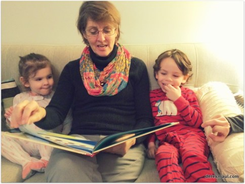 "reading ""Tickle-Monster"" with grandmama"