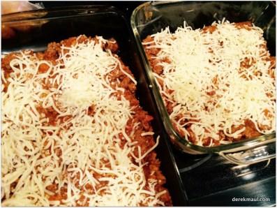 adding the mozzarella