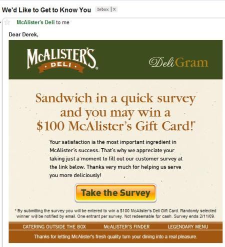 McAlisters Deli Email Marketing