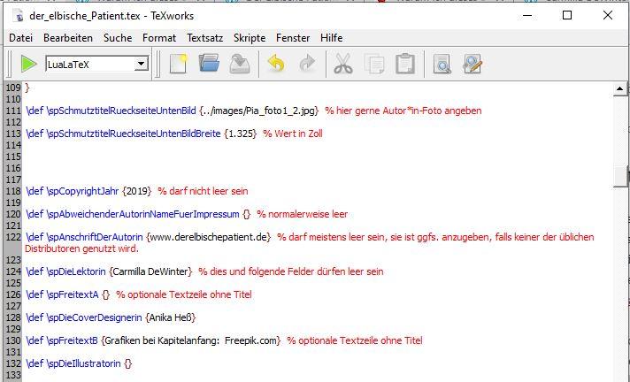 Setzen mit SPBuchsatz. So sieht der Text vor dem Kompilieren aus. Wie Latex Quellcode, nur etwas einfacher. Die verschiedenen Befehle sind farbig hinterlegt, Kommentare sind z.B. rot.