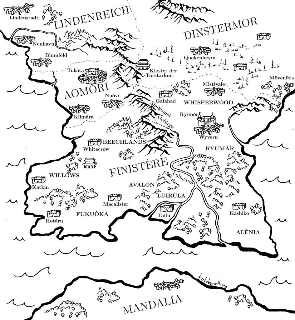 Die magische Welt: hier eine Karte vom Zauberreich Finistère, dem Schauplatz des Buches und seiner Nachbarländer