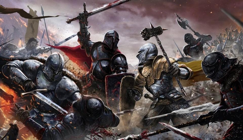 Tausend mal gesehen. Das typische Bild einer epischen Schlacht: starke Männer unter sich.