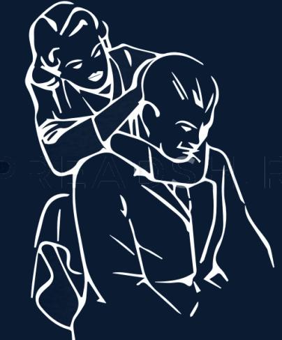Hier wird ein rear naked choke fachgerecht ausgeführt. Das Bild zeigt eine Frau (stilisiert gezeichnet) die einen Mann von hinten würgt.