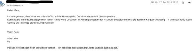 Meine Mail, in der ich den Verleger darum bitte, die fehlerhaften Texte offline zu nehmen.