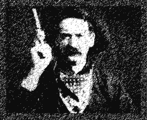"Räuber mit Pistole: Szene aus dem Film The Great Train Robbery"""