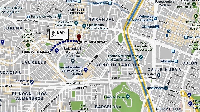 Medellin Kolumbien: Strassenplan für das Quartier Laureles