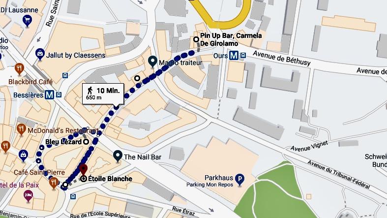 Stadtkarte Lausanne, cooles Quartier in der Altstadt, Rue Marterey