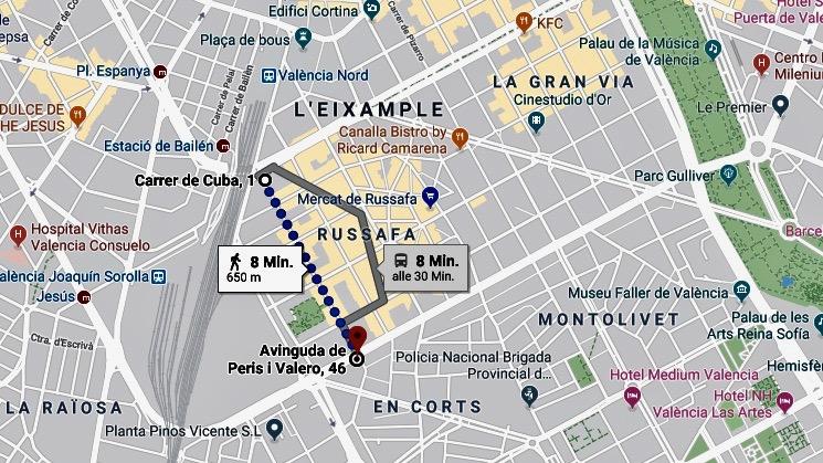 Stadtplan Valencia Russafa: Cooles Quartier in der Nähe des Bahnhofs Norte mit Wegbeschreibung
