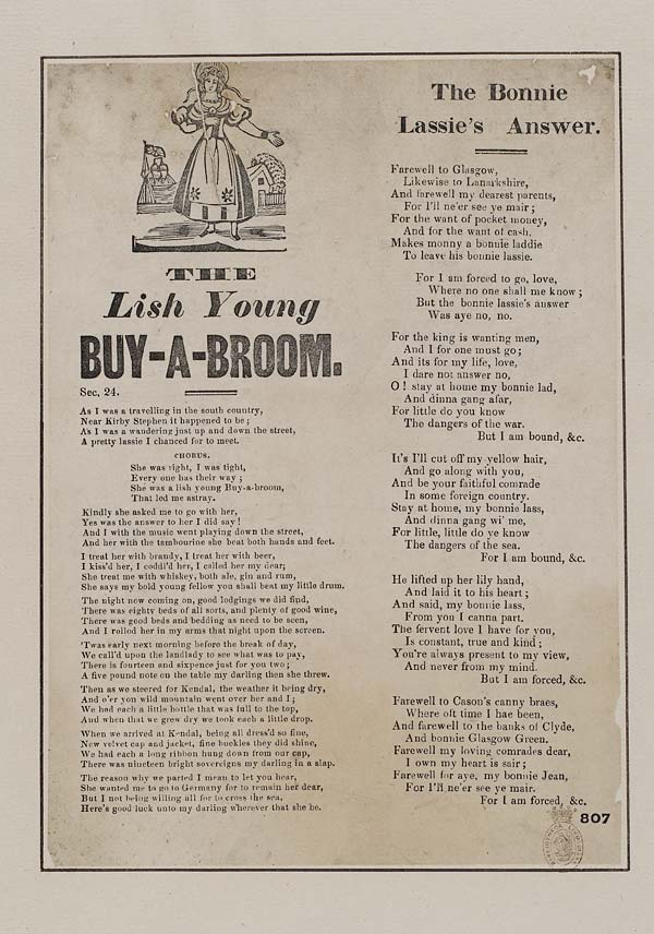 Lish Young Buy-a-Broom - mid-nineteenth century broadside printed by Harkness of Preston, from the National Library of Scotland website.
