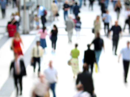 Liverpool Street station crowd blur. By David Sims, some rights reserved.