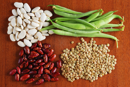 Various types of beans background