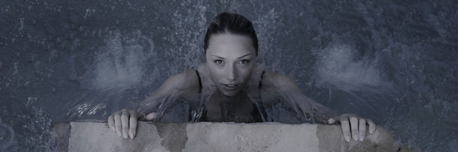 A woman in a pool