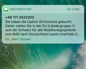 SMS von der 01712522202