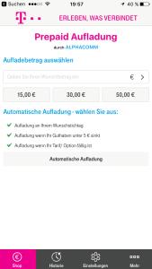 Hier kann man einen Betrag bis 99 Euro auswählen, oder eine der Vorgaben.