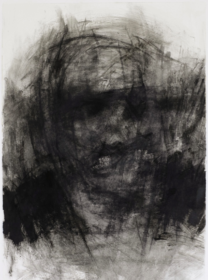"Threshold, Head Shot 3. 30"" x 22"". Handmade charcoal and clear gesso on paper."