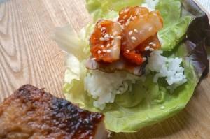 Mit Kimchi und etwas Sesamsaat