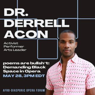 """Hi Friends,   The Afro-Diasporic Opera Forum, hosted by the International ContemporaryEnsemble, begins today! It's totally free, and includes amazing scholars and artists in conversation about Black Opera -- today and moving forward.   I have a keynote scheduled for Friday at 12pm PDT / 3pm EDT entitled """"poems are bullsh*t: Demanding Black Space in Opera."""" I hope you'll join me.   Register here: https://www.iceorg.org/aof  #blackvoices #blackopera #aof #blackactivism #blackart"""