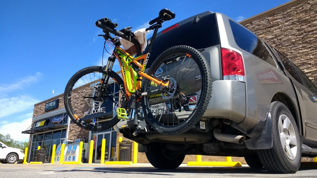 Mountain bike on a suv rack