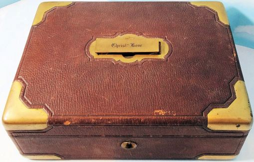 GERMANY - STORAGE BOX - IDENTIFIED - CHRISTIAN BOVE - LEATHER AND BRASS - Imperial German Military Antiques Sale