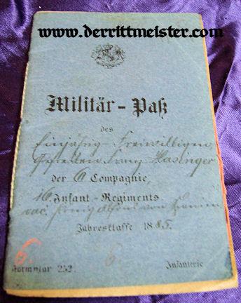 MILITÄRPAß - INFANTERIE-REGIMENT Nr 16 - BAVARIA - Imperial German Military Antiques Sale