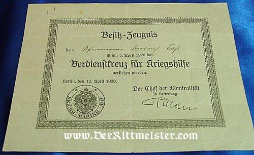 GERMANY - DOCUMENT FOR SAILOR WHO RECEIVED THE VERDIENSTKREUZ FÜR KRIEGSHILFE - Imperial German Military Antiques Sale