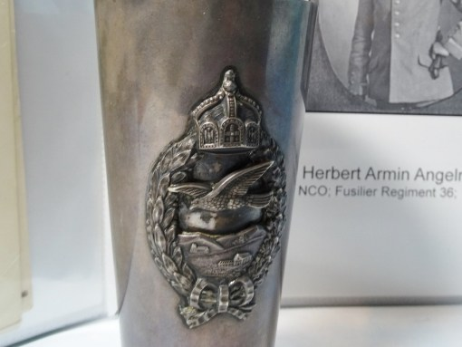 LARGE SILVER CUP WITH LEUTNANT der RESERVE HERBERT A. ANGELROTH'S PRUSSIAN PILOT BADGE AND BOUND MILITARY & PERSONAL RESEARCH - Imperial German Military Antiques Sale