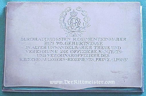 PRESENTATION SILVER DESK NOTE BOOK AND PAPER PAD TO PRINZ ALFONS OF BAVARIA - Imperial German Military Antiques Sale