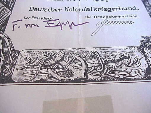GERMANY COLONIAL - AWARD DOCUMENT -  KOLONIALAUSZEICHNUNG BADGE - Imperial German Military Antiques Sale