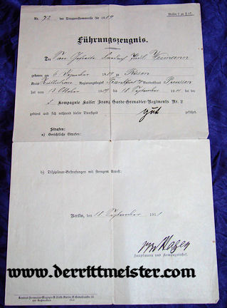 GOOD SERVICE/CONDUCT DOCUMENT - Imperial German Military Antiques Sale