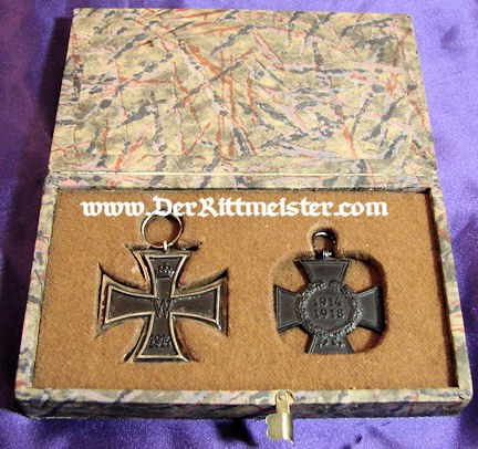 IRON CROSS - 1914 - 2nd CLASS AND HINDENBURG CROSS NEXT-OF-KIN ( WIDOW'S CROSS) - CASED SET - Imperial German Military Antiques Sale