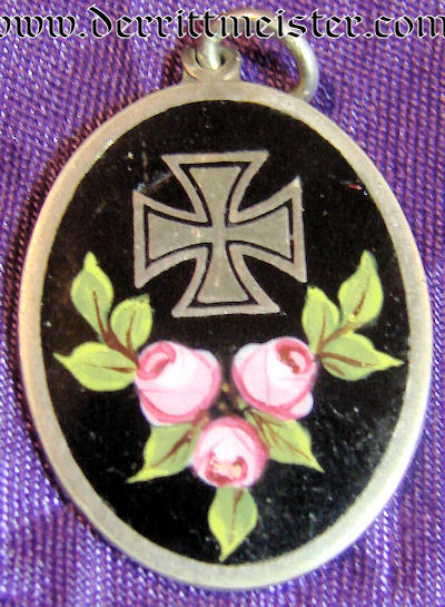 PATRIOTIC IRON CROSS PENDANT WITH ROSES