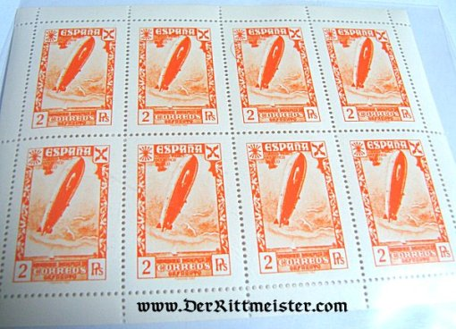 SPAIN - STAMPS - ZEPPELIN - BLOCK OF EIGHT STAMPS - Imperial German Military Antiques Sale
