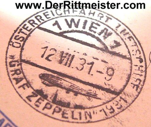POSTCARD FLOWN - GRAF ZEPPELIN - AUSTRIA - GERMANY - 1931 - Imperial German Military Antiques Sale