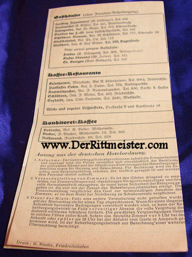 GERMANY - 1937 HOTEL LISTING - FRIEDRICHSHAFEN - Imperial German Military Antiques Sale