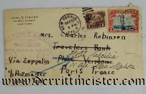 U.S. / GERMANY - ENVELOPE - STAMPED - FLOWN ON FIRST USA-TO-GERMANY ZEPPELIN FLIGHT - Imperial German Military Antiques Sale