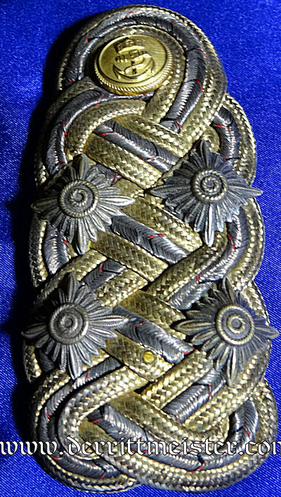 PRUSSIA - SHOULDER BOARD WITH POSTCARD AND HANDWRITTEN LETTER- GROßADMIRAL  - ALFRED von TIRPITZ - Imperial German Military Antiques Sale